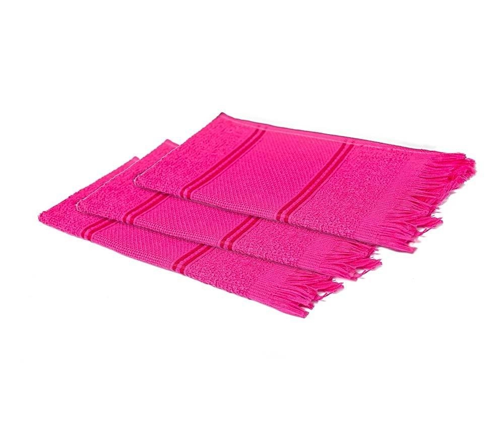 Kit Toalha Social para Bordar com Franja de 3 Peças Pink