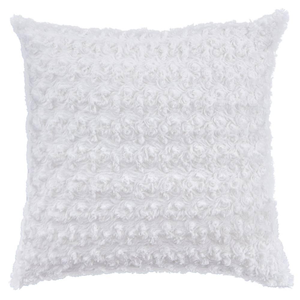 Capa de Almofada Texturizada Rosas Branco 45cm x 45cm