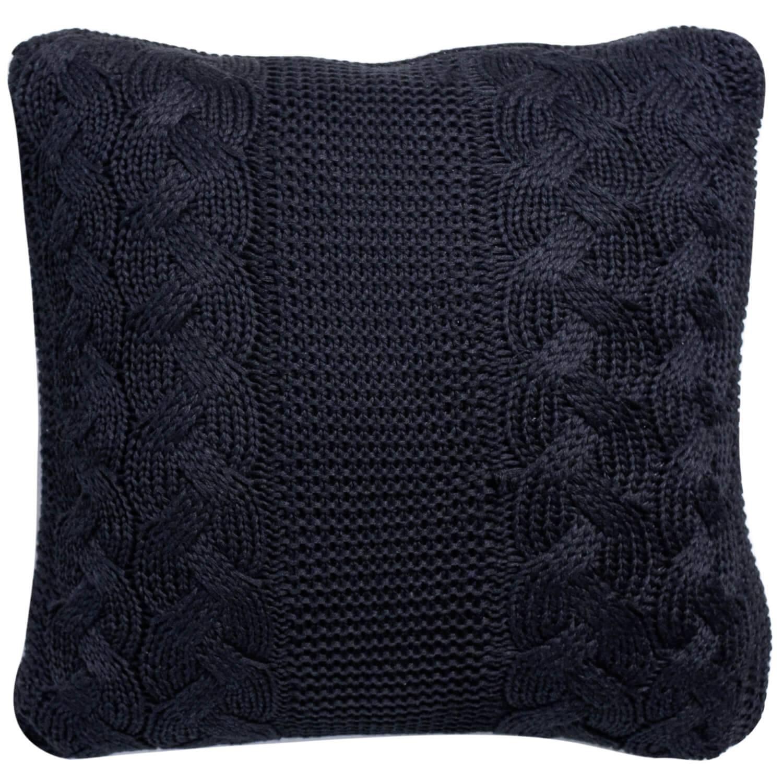 Capa de Almofada Tricot Trança Preto 45cm x 45cm