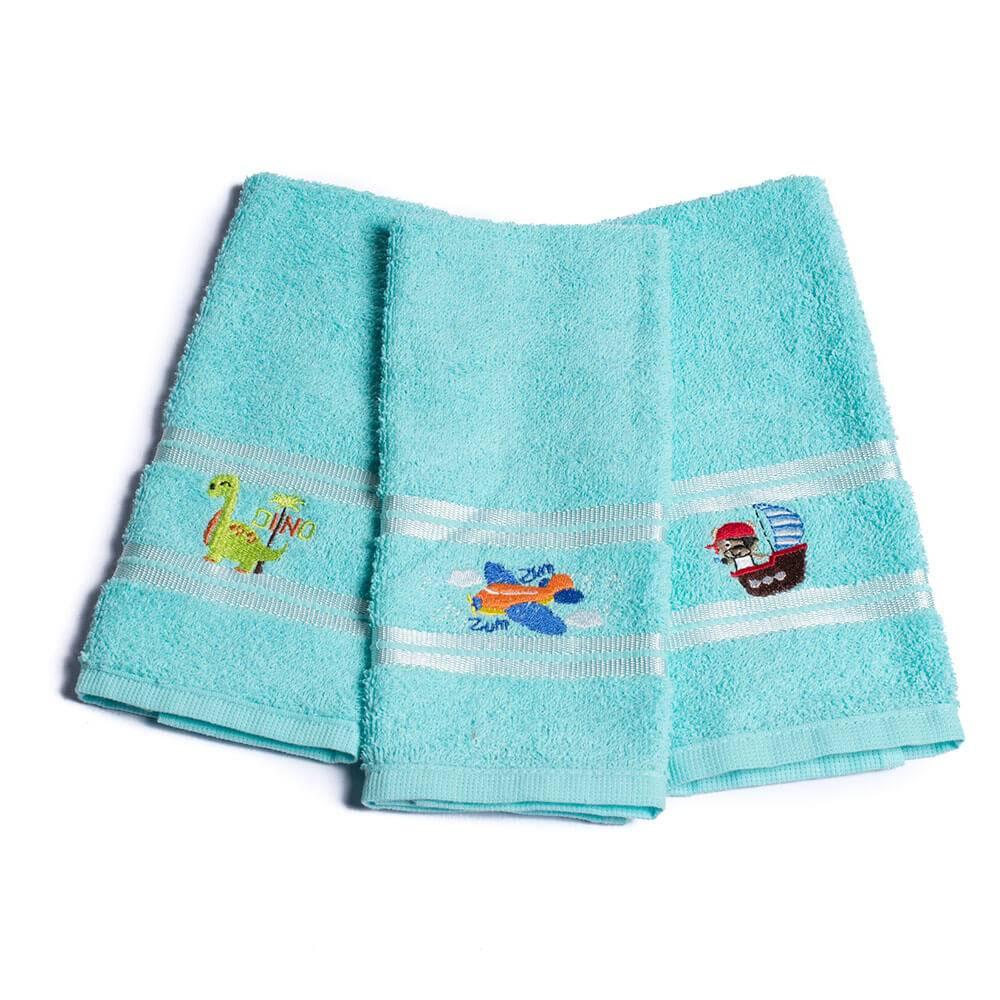 Kit Toalhas Lavabo Escolar Infantil Bordada (Lancheira) Azul Bebe