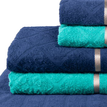 Jogo de Toalhas 5 peças 100% algodão Dubai - Azul e Verde