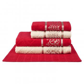Jogo de Toalhas 5 peças 100% algodão Dubai - Vermelho e Off