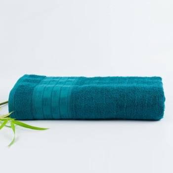 Toalha de Banho Jacquard Fibra de Bamboo Azul Petróleo - LM