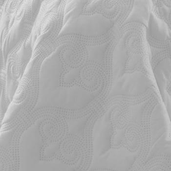 Kit 1 Colcha Queen Boutis Microfibra Ultrasonic + 2 Porta-Travesseiros Branco