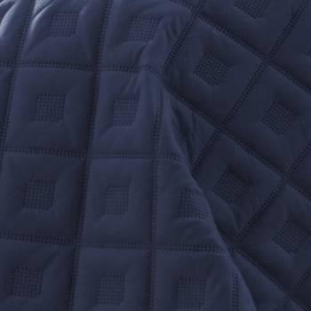 Kit 1 Colcha Solteiro Boutis Microfibra Ultrasonic 1,80 x 2,20m + Porta-Travesseiro Azul Marinho - Rozac