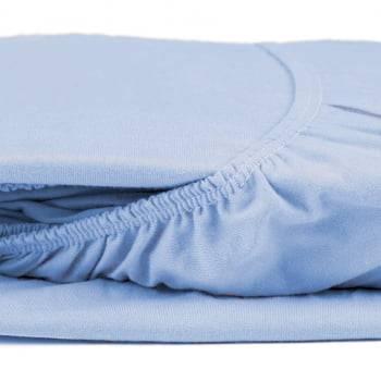Lençol para Berço com Elástico Fio 30/1 Penteado Azul Claro - Atlântica