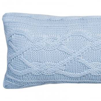 Almofada Baguete Tricot Trança Aran Azul 20cm x 50cm