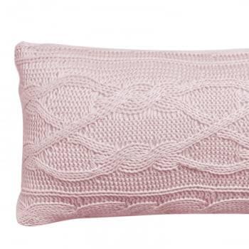 Almofada Baguete Tricot Trança Aran Rosa 20cm x 50cm