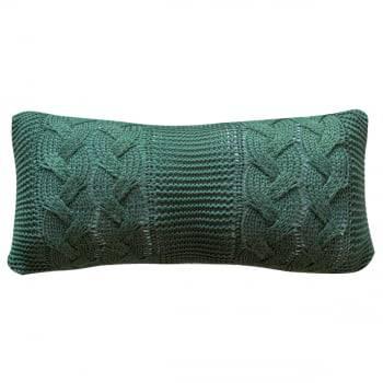 Almofada Baguete Tricot Trança Verde 20cm x 50cm