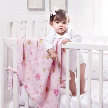 Cobertor Baby Fleece para Berço Antialérgico 90cm x 110cm  Borboletas
