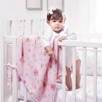 Cobertor Baby Fleece para Berço Antialérgico 90cm x 110cm  Corujinha