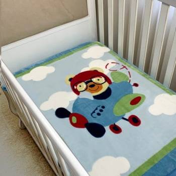 Cobertor Bebê Raschel Aviador Antialérgico - Corttex