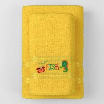 Jogo Toalhas de Banho Infantil Bordadas 100% Algodão Fish - Amarelo