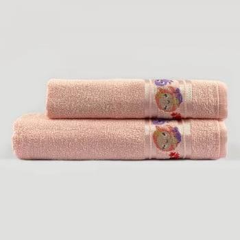Jogo Toalhas de Banho Infantil Bordadas 100% Algodão Sereia - Rosa Bebê