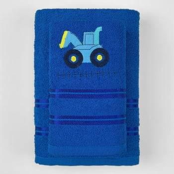 Jogo Toalhas de Banho Infantil Bordadas 100% Algodão Trator - Azul