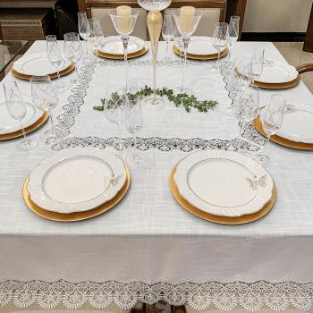 Toalha de Mesa Renda Guipure Cannes Branco - Kacyumara