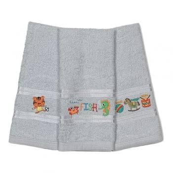 Kit Toalhas Lavabo Escolar Infantil Bordada (Lancheira) Cinza