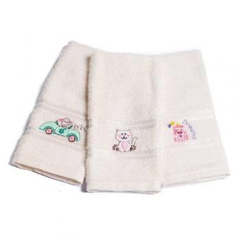 Kit Toalhas Lavabo Escolar Infantil Bordada (Lancheira) Off White
