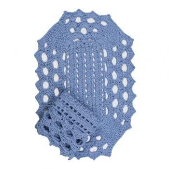 Jogo de Tapete Crochê 2 peças Azul