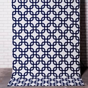 Tapete de Sala Antiderrapante Contemporâneo Mônaco Cru c/ Azul