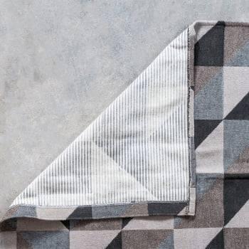 Tapete de Sala Dubai Antiderrapante 1,50m x 1,50m - Marrom c/ Cinza