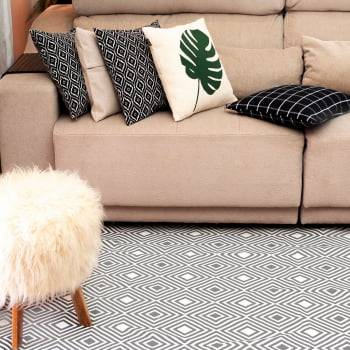 Tapete Pequeno para Sala ou Quarto Onix Cinza Antiderrapante 1,50m x 1,50m