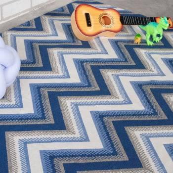 Tapete Pequeno para Sala ou Quarto Oslo Antiderrapante 1,00m x 1,50m - Azul Bebê