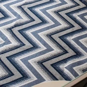 Tapete Pequeno para Sala ou Quarto Oslo Antiderrapante 1,50m x 1,00m - Azul c/Cinza