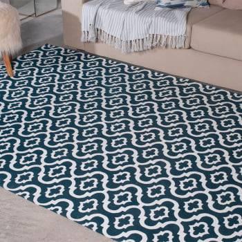 Tapete Pequeno para Sala ou Quarto Roma Antiderrapante 1,50m x 1,50m - Azul Petróleo